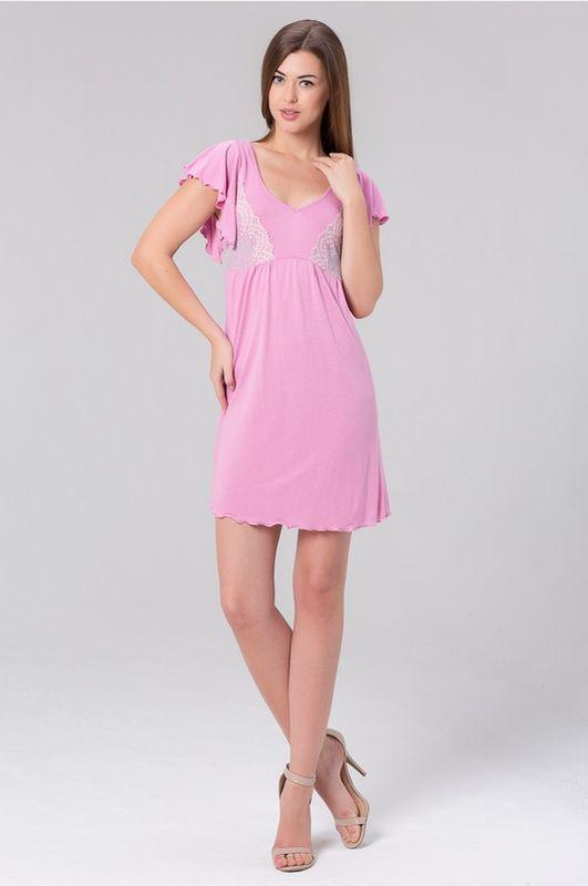 Сорочка женская Tesoro, цвет: розовая гвоздика. 419С1. Размер 44419С1Короткая ночная сорочка из нежной вискозы.