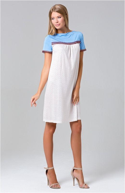 Сорочка женская Tesoro, цвет: цветной бисер. 423С1. Размер 46423С1Ночная сорочка с коротким рукавом из нежной вискозы.