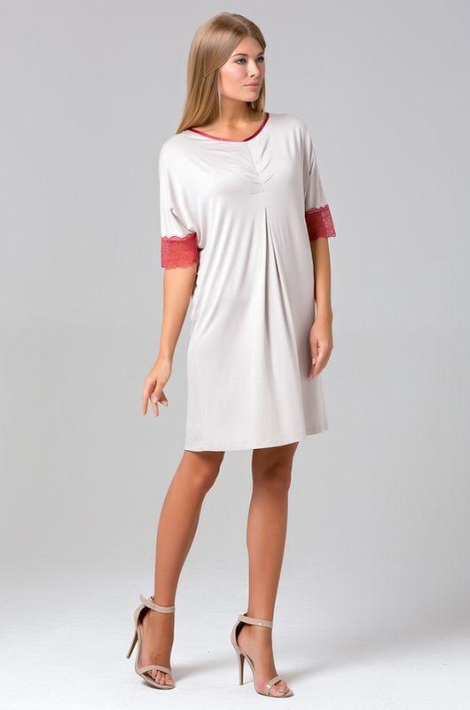 Сорочка женская Tesoro, цвет: сахарный кварц. 433С1. Размер 44433С1Великолепная сорочка-платье из нежной вискозы. Рукава декорированы кружевом.
