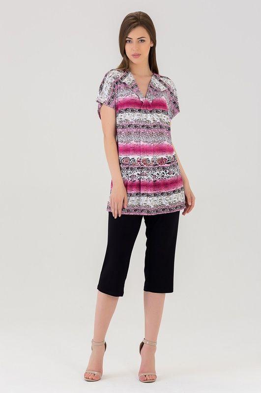 Комплект женский Tesoro: футболка, капри, цвет: малиновый нектар. 444К1. Размер 54444К1Оригинальный домашний комплект из мягкой вискозы.