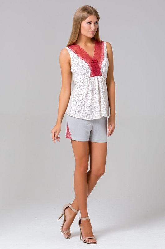 Пижама женская Tesoro, цвет: цветной бисер. 430П1. Размер 46430П1Великолепная пижамка, состоящая из топа и шорт.