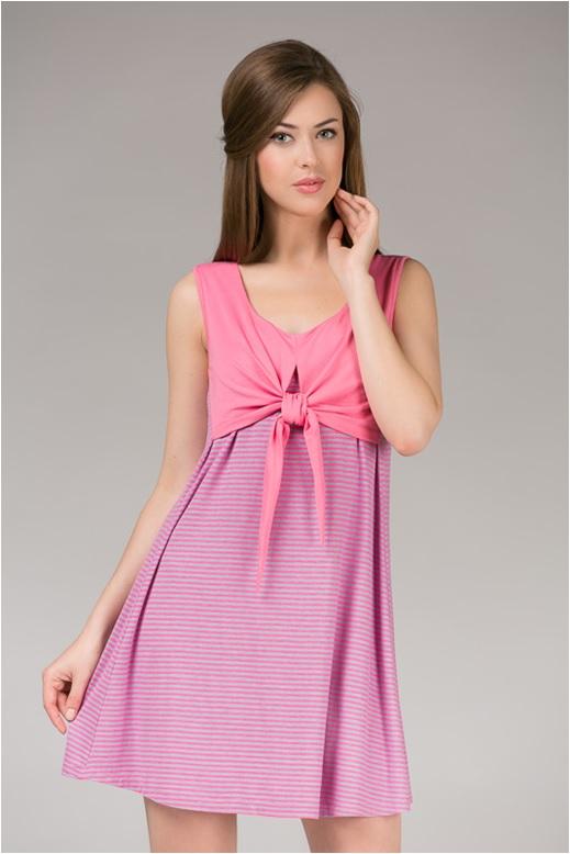 Платье домашнее женское Tesoro, цвет: розовый лимонад. 390Пл1. Размер 48390Пл1Великолепное платье из вискозы с эффектом накидки.