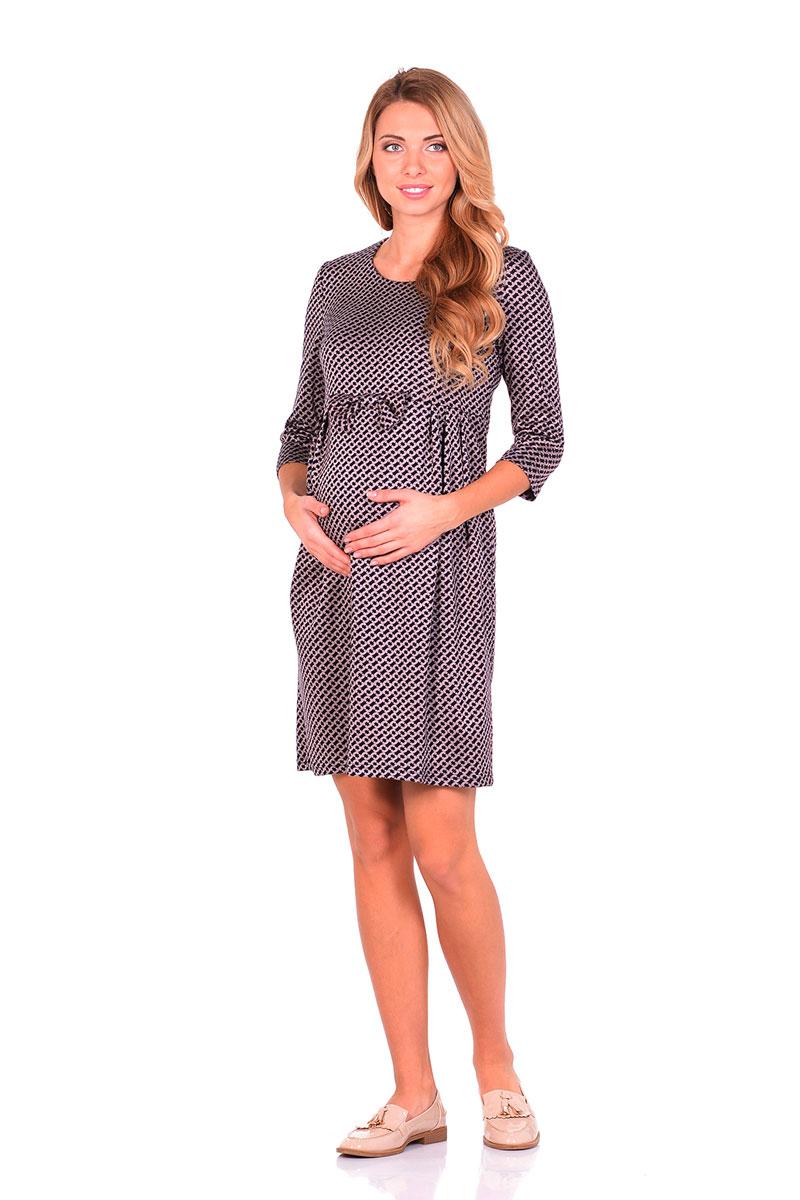 Платье для беременных Nuova Vita, цвет: синий, бежевый. 2110.08 N.V.. Размер 482110.08 N.V.Платье Nuova Vita выполнено из вискозы, полиэстера и эластана. Модель с круглым вырезом горловины застегивается на молнию.