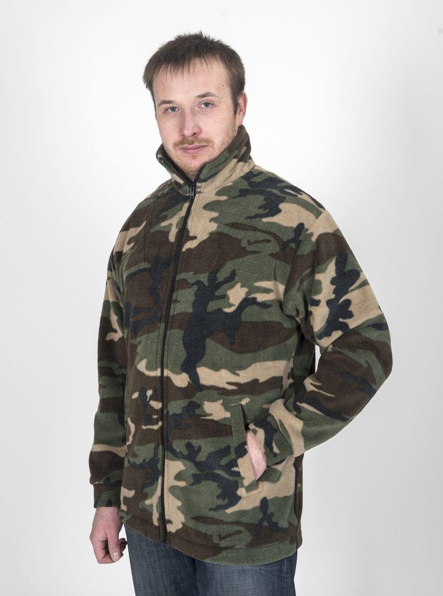 Куртка рыболовная Fisherman Комфорт, цвет: камуфляж. 54770. Размер 48/50КомфортФлисовая куртка Комфорт отлично заменит шерстяной свитер или кофту. Имеет разъемную молнию, высокий воротник и два глубоких кармана. Низ куртки регулируется при помощи резинки и стопора. Изготавливается из ткани Polar fleece плотностью 300 гр\м2.Polar fleece это: трикотажная ткань с двухсторонним ворсом: особо износоусточивым с наружной стороны - Polar и очень мягким и комфортным с внутренней - fleece. Лучший современный заменитель шерсти, дышащий и не вызывающий аллергии.Основные достоинства и преимущества: высокоэффективная теплозащита; мягкость и комфорт при прикосновении; отлично впитывает влагу и не холодит тело при намокании, как одежда из хлопка; быстро высыхает после намокания – быстрее , чем хлопок или шерсть;не обладает усадкой после стирки; не растягивается и не теряет форму в процессе эксплуатации.