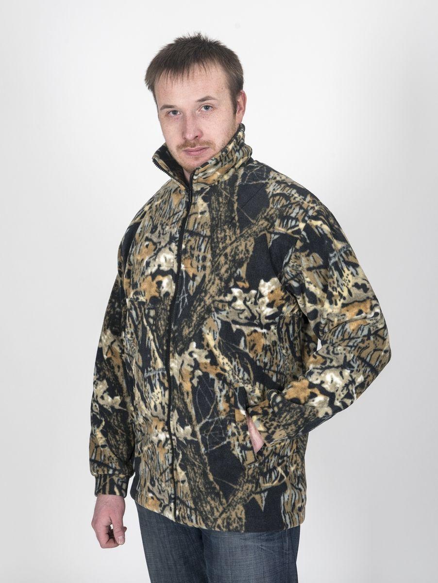 Куртка рыболовная Fisherman Комфорт, цвет: камуфляж, темный лес. 54779. Размер 52/54КомфортФлисовая куртка Комфорт отлично заменит шерстяной свитер или кофту. Имеет разъемную молнию, высокий воротник и два глубоких кармана. Низ куртки регулируется при помощи резинки и стопора. Изготавливается из ткани Polar fleece плотностью 300 гр\м2.Polar fleece это: трикотажная ткань с двухсторонним ворсом: особо износоусточивым с наружной стороны - Polar и очень мягким и комфортным с внутренней - fleece. Лучший современный заменитель шерсти, дышащий и не вызывающий аллергии.Основные достоинства и преимущества: высокоэффективная теплозащита; мягкость и комфорт при прикосновении; отлично впитывает влагу и не холодит тело при намокании, как одежда из хлопка; быстро высыхает после намокания – быстрее , чем хлопок или шерсть;не обладает усадкой после стирки; не растягивается и не теряет форму в процессе эксплуатации.