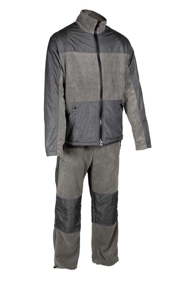 Комплект одежды Vostok Пикник-Люкс: куртка, брюки, цвет: серый. 62145. Размер 48/50Пикник-ЛюксМягкий, теплый, флисовый костюм Пикник-Люкс. Может использоваться для повседневной носки в прохладную погоду. Подходит как для отдыха на природе, так и для домашней носки. Комбинирование двух тканей разного типа делают этот костюм самостоятельной моделью, которую можно носить в сочетании с другими вещами.Куртка имеет высокий воротник-стойку с утяжкой. Застегивается на молнию, дополнена двумя объемными карманами. Модель оформлена утяжкой по низу. Имеются вставки из ткани Taslan для улучшения внешнего вида и усиленияБрюки прямого кроя с широким поясом на резинке с шнуром–утяжкой. Брюки дополнены двумя карманами по бокам. Регулировка ширины низа брюк. Вставки из ткани Taslan в области колена для усиления.Ткань верха: Polar Fleece 270 г/м2.