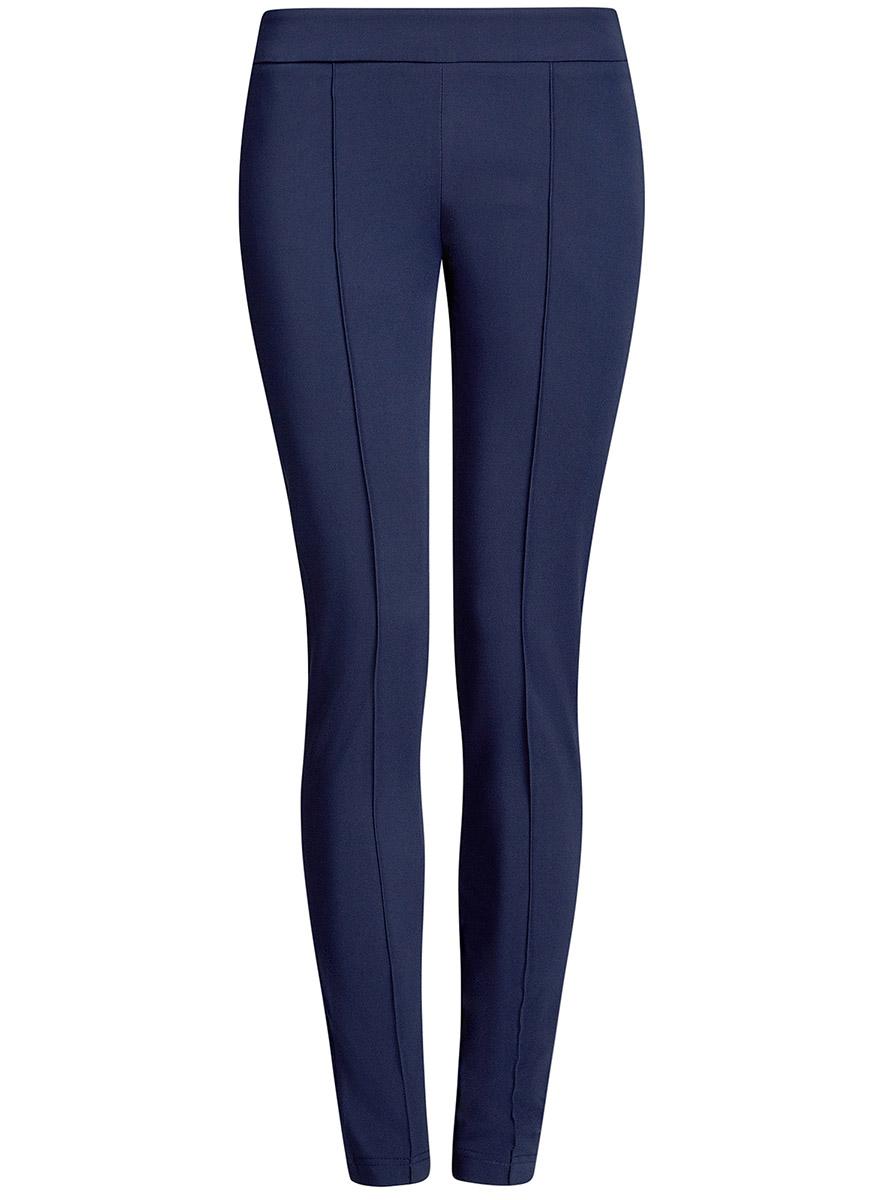 Брюки женские oodji Ultra, цвет: синий. 11707099-1B/42250/7900N. Размер 38-170 (44-170)11707099-1B/42250/7900NЖенские брюки oodji Ultra выполнены из высококачественного материала. Зауженная модель стандартной посадки застегивается сбоку на застежку-молнию.
