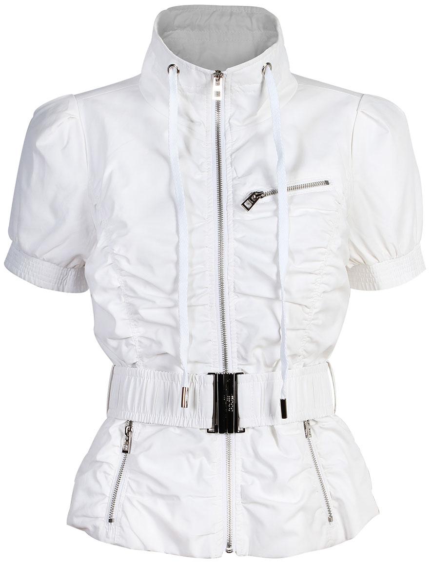 Куртка женская oodji Ultra, цвет: белый. 10304010/18175/1000N. Размер 34-170 (40-170)10304010/18175/1000NЖенская куртка oodji Ultra выполнена из высококачественного материала. Модель с воротником-стойкой застегивается на застежку-молнию. Спереди расположено три втачных кармана на застежках-молниях. Куртка дополнена эластичным поясом с металлической пряжкой.