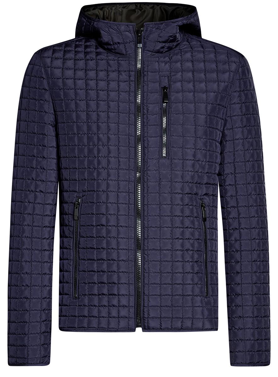 Куртка мужская oodji Basic, цвет: синий. 1B112007M/46376N/7900N. Размер L-182 (52-54-182)1B112007M/46376N/7900NМужская куртка oodji Basic выполнена из высококачественного материала. В качестве подкладки и утеплителя используется полиэстер. Модель с капюшоном застегивается на застежку-молнию. Спереди расположено три прорезных кармана на застежках-молниях.