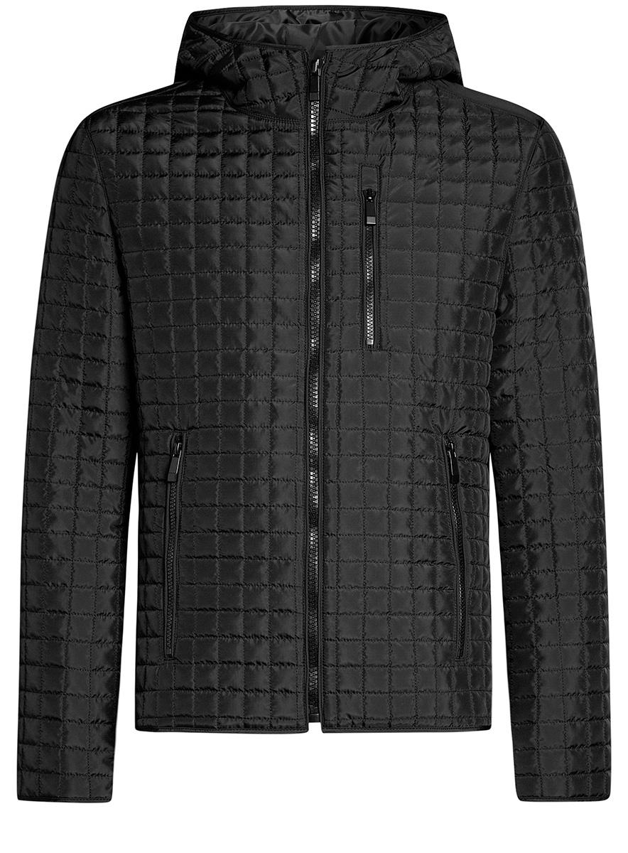 Куртка мужская oodji Basic, цвет: черный. 1B112007M/46376N/2900N. Размер L-182 (52-54-182)1B112007M/46376N/2900NМужская куртка oodji Basic выполнена из высококачественного материала. В качестве подкладки и утеплителя используется полиэстер. Модель с капюшоном застегивается на застежку-молнию. Спереди расположено три прорезных кармана на застежках-молниях.