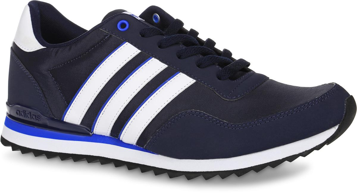 Кроссовки мужские adidas Neo Jogger Cl, цвет: темно-синий, белый. AW4075. Размер 6 (38)AW4075Мужские кроссовки adidas Neo Jogger Cl, выполненные из текстиля, оформлены фирменными нашивками. Шнурки надежно зафиксируют модель на ноге. Внутренняя поверхность из текстиля комфортна при движении. Стелька выполнена из легкого ЭВА-материала с поверхностью из текстиля.Подошва изготовлена из высококачественной резины и дополнена рельефным рисунком.