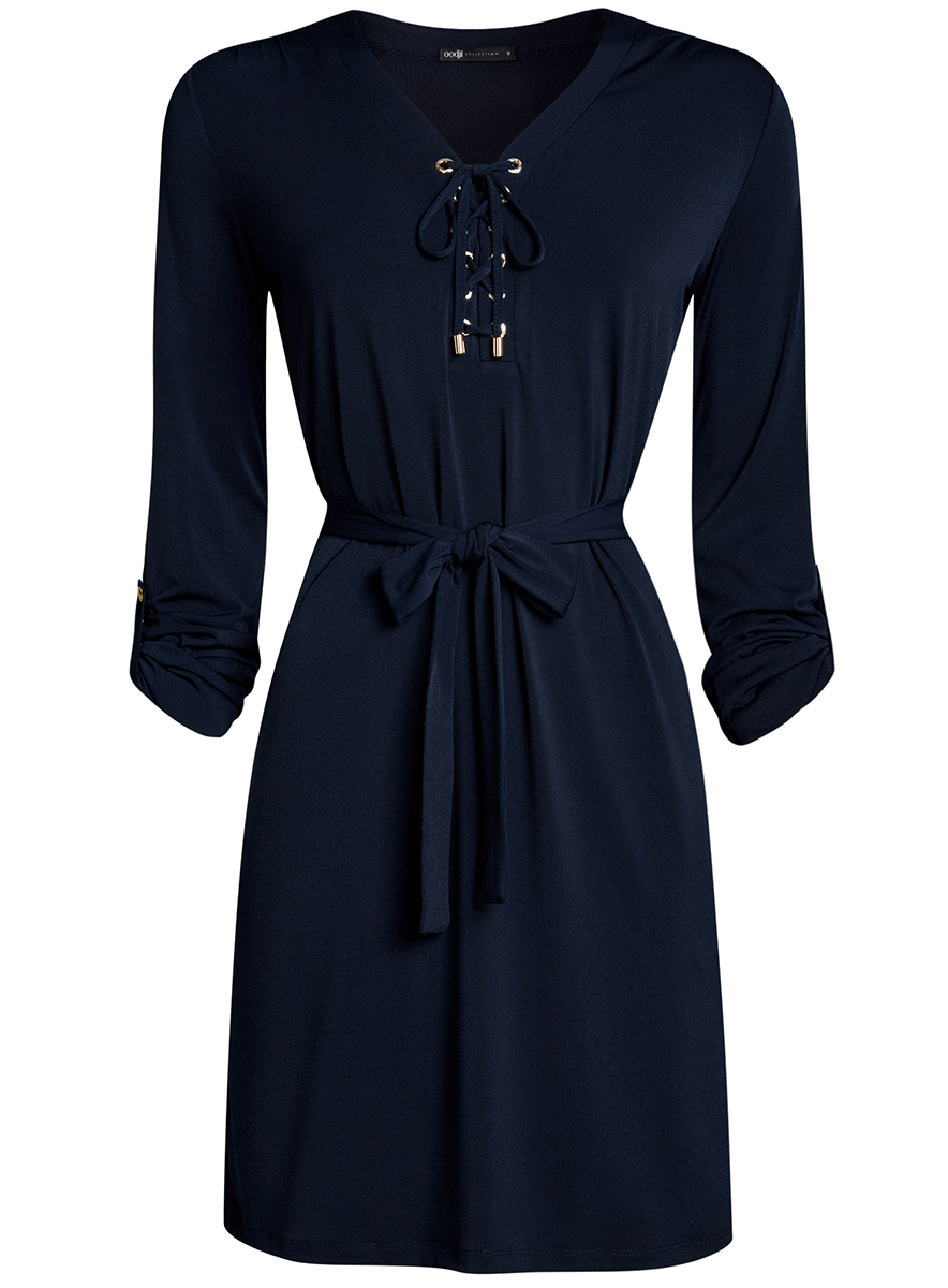 Платье oodji Collection, цвет: темно-синий. 24001109/43121/7900N. Размер L (48-170)24001109/43121/7900NСтильное платье полуприталенного кроя oodji Collection выполнено из качественного трикотажа и дополнено текстильным поясом. Модель средней длины имеет V-образный вырез горловины, оформленный шнуровкой. Рукава изделия подгибаются и фиксируются хлястиком на пуговице.