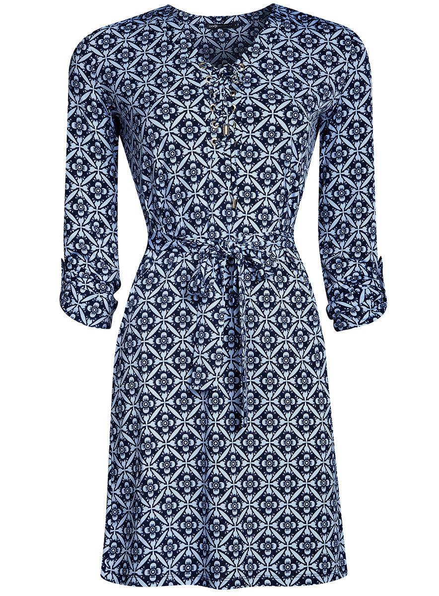 Платье oodji Collection, цвет: темно-синий, голубой. 24001109/43121/7970O. Размер S (44-170)24001109/43121/7970OСтильное платье полуприталенного кроя oodji Collection выполнено из качественного трикотажа и дополнено текстильным поясом. Модель средней длины имеет V-образный вырез горловины, оформленный шнуровкой. Рукава изделия подгибаются и фиксируются хлястиком на пуговице.