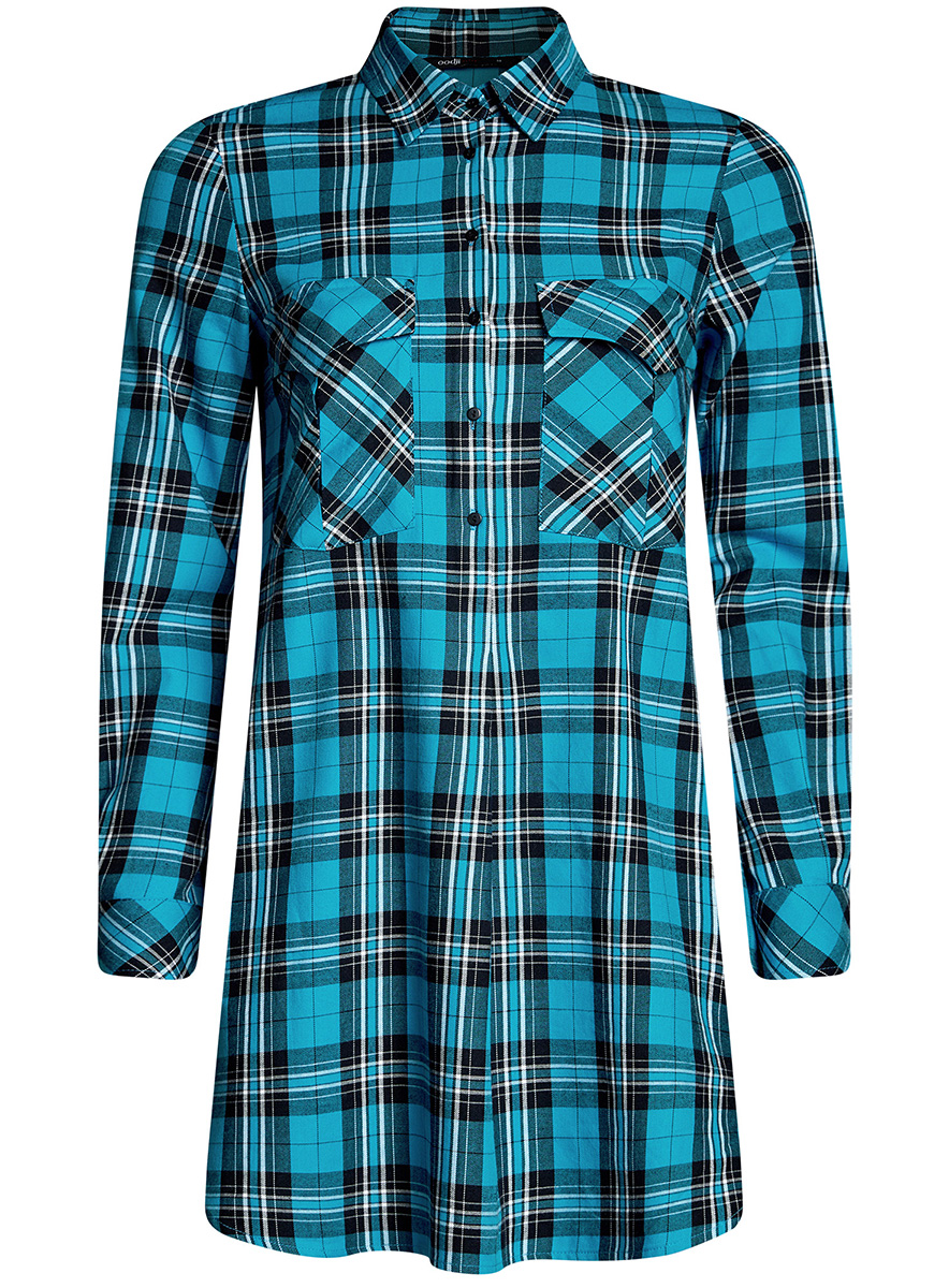 Платье-рубашка oodji Ultra, цвет: бирюзовый. 11911004-2/45252/7329C. Размер 34-170 (40-170)11911004-2/45252/7329CПлатье-рубашка oodji Ultra выполнено из натурального хлопка с принтом в крупную клетку. Модель с отложным воротничком и закругленными разрезами застегивается на пуговицы и дополнена на груди двумя накладными карманами под клапанами. Манжеты рукавов также застегиваются на пуговицы.
