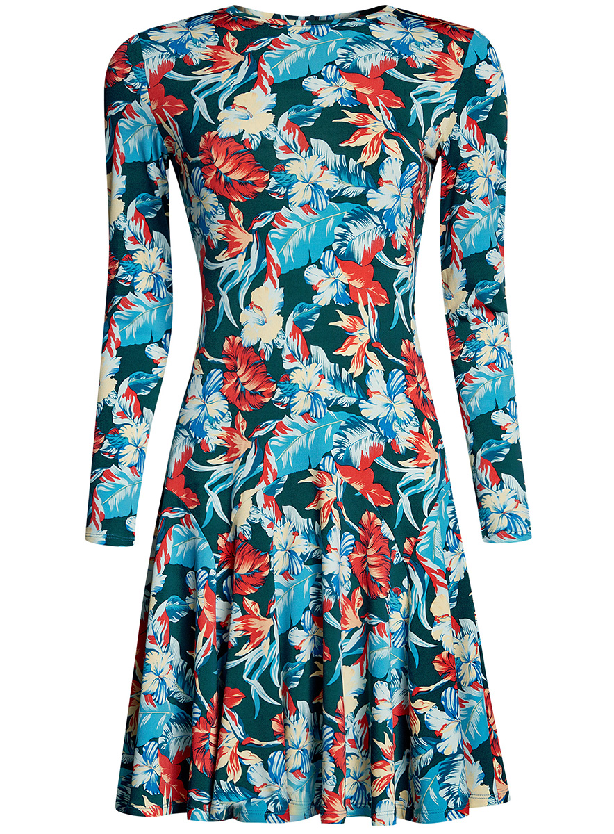 Платье oodji Ultra, цвет: зеленый. 14011015/46384/6E43F. Размер M (46-170)14011015/46384/6E43FПриталенное платье oodji Ultra с расклешенной юбкой выполнено из качественного трикотажа. Модель средней длины с круглым вырезом горловины и длинными рукавами застегивается на скрытую молнию на спинке.