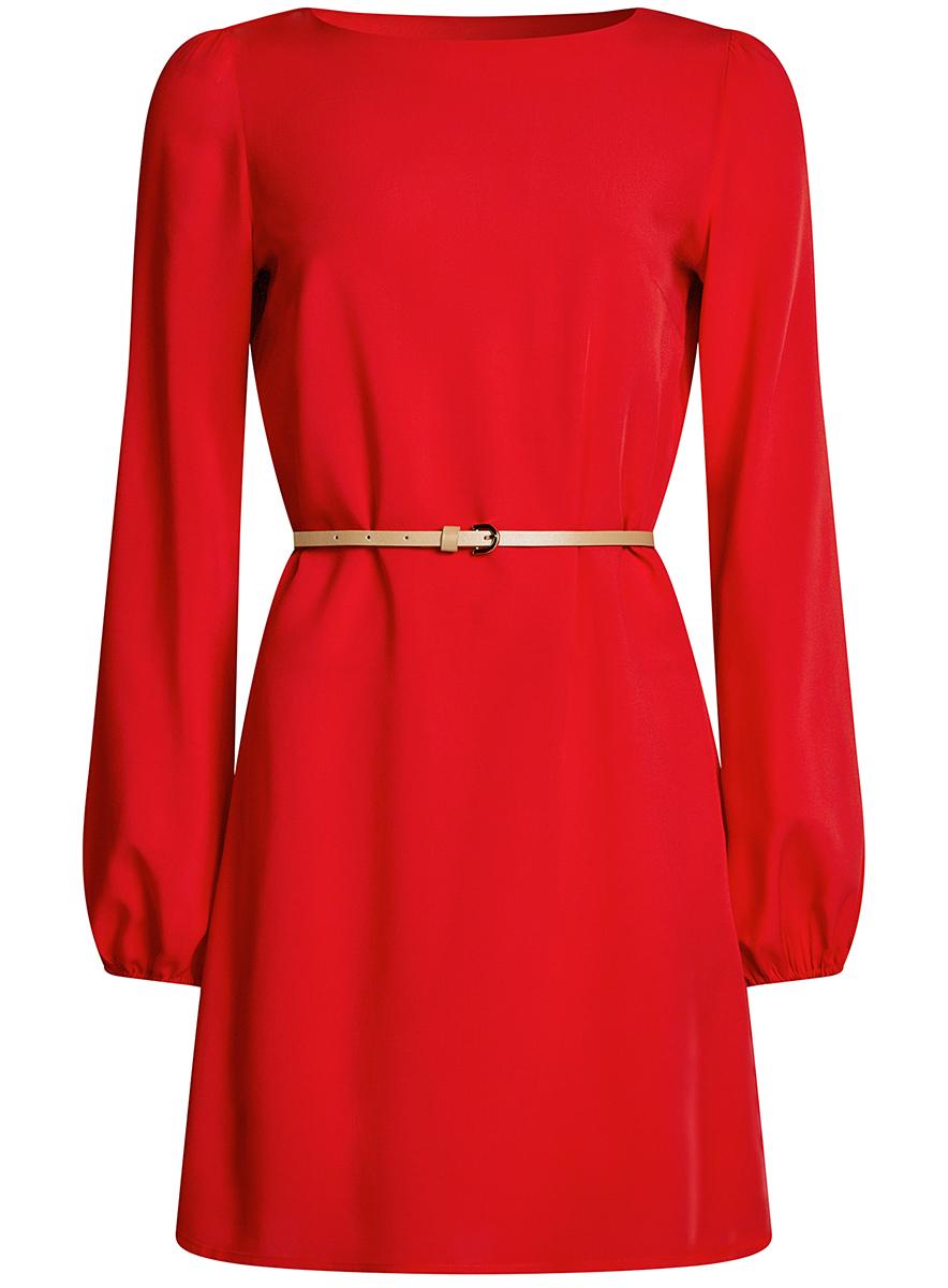 Платье oodji Ultra, цвет: красный. 11900150-8B/42540/4500N. Размер 36-170 (42-170)11900150-8B/42540/4500NСтильное платье oodji Ultra выполнено из вискозы. Модель с круглым вырезом горловины и длинными рукавами дополнена узким ремнем из искусственной кожи с металлической пряжкой. Низ рукавов собран на резинку.