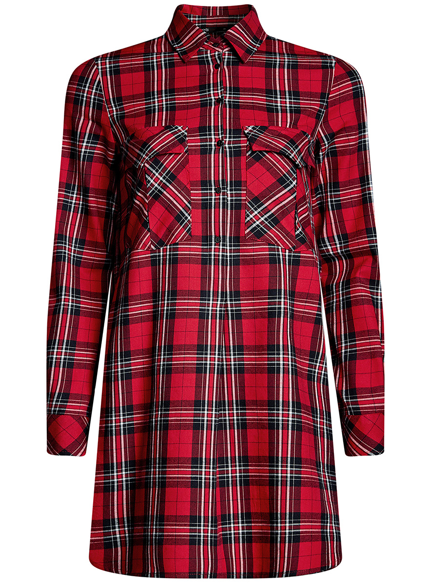 Платье-рубашка oodji Ultra, цвет: красный. 11911004-2/45252/4529C. Размер 38-170 (44-170)11911004-2/45252/4529CПлатье-рубашка oodji Ultra выполнено из натурального хлопка с принтом в крупную клетку. Модель с отложным воротничком и закругленными разрезами застегивается на пуговицы и дополнена на груди двумя накладными карманами под клапанами. Манжеты рукавов также застегиваются на пуговицы.