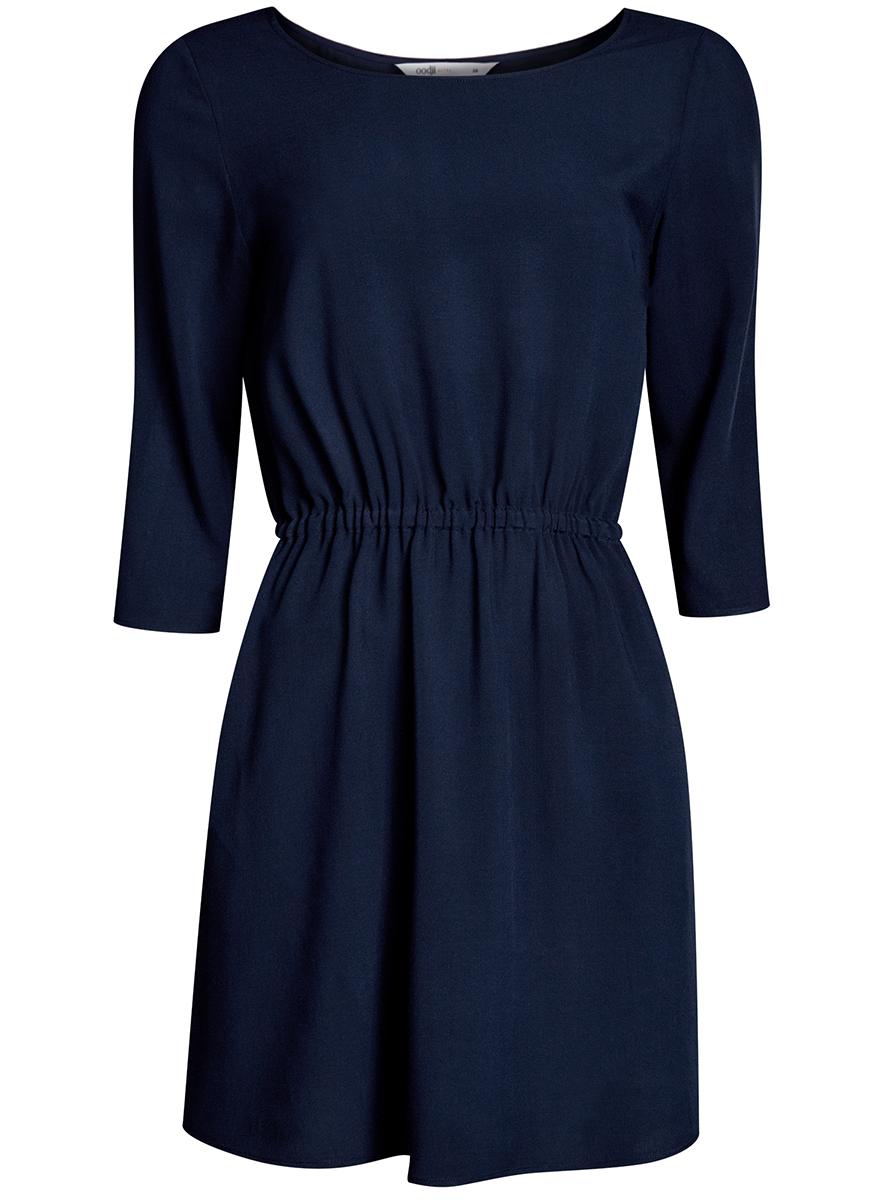 Платье oodji Ultra, цвет: темно-синий. 11901153B/14897/7900N. Размер 38-170 (44-170)11901153B/14897/7900NЛегкое платье oodji Ultra выполнено из вискозы. Модель мини-длины с круглым вырезом горловины и рукавами 3/4 имеет резинку на талии.