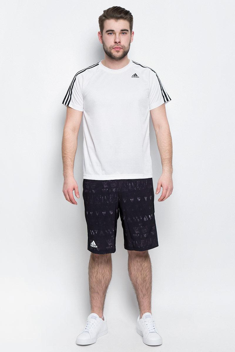 Футболка мужская adidas D2M Tee 3S, цвет: белый. BK0971. Размер M (48/50)BK0971Мужская футболка adidas D2M Tee 3S, выполненная из высококачественного полиэфира, обладает высокой воздухопроницаемостью. Ткань с технологией climalite быстро и эффективно отводит влагу с поверхности кожи, поддерживая комфортный микроклимат. Такая футболка великолепно подойдет как для повседневной носки, так и для спортивных занятий. Модель с короткими рукавами-реглан и круглым вырезом горловины украшена контрастными полосками на рукавах и небольшим принтом с логотипом бренда на груди.
