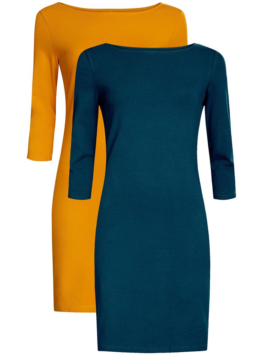 Платье oodji Ultra, цвет: темно-бирюзовый, горчичный, 2 шт. 14001071T2/46148/7952N. Размер L (48)14001071T2/46148/7952NКомплект из двух мини-платьев oodji Ultra изготовлен из хлопка с добавлением эластана. Обтягивающие платья с круглым вырезом и рукавами 3/4 выполнены в лаконичном дизайне. В комплекте два платья.