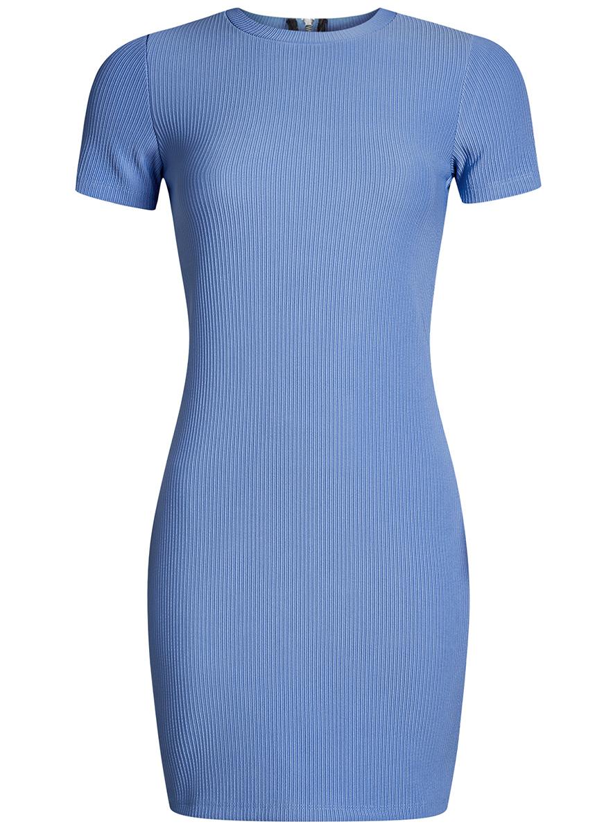 Платье oodji Ultra, цвет: синий. 14011007/45262/7501N. Размер XXS (40)14011007/45262/7501NСтильное трикотажное платье oodji Ultra выполнено из высококачественного комбинированного материала в мелкую резинку, мягкого и нежного на ощупь. Модель по фигуре с круглым вырезом горловины и короткими рукавами застегивается на спинке на застежку-молнию.