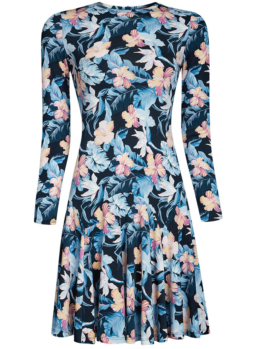 Платье oodji Ultra, цвет: темно-синий, голубой. 14011015/46384/7941F. Размер M (46-170)14011015/46384/7941FПриталенное платье oodji Ultra с расклешенной юбкой выполнено из качественного трикотажа. Модель средней длины с круглым вырезом горловины и длинными рукавами застегивается на скрытую молнию на спинке.