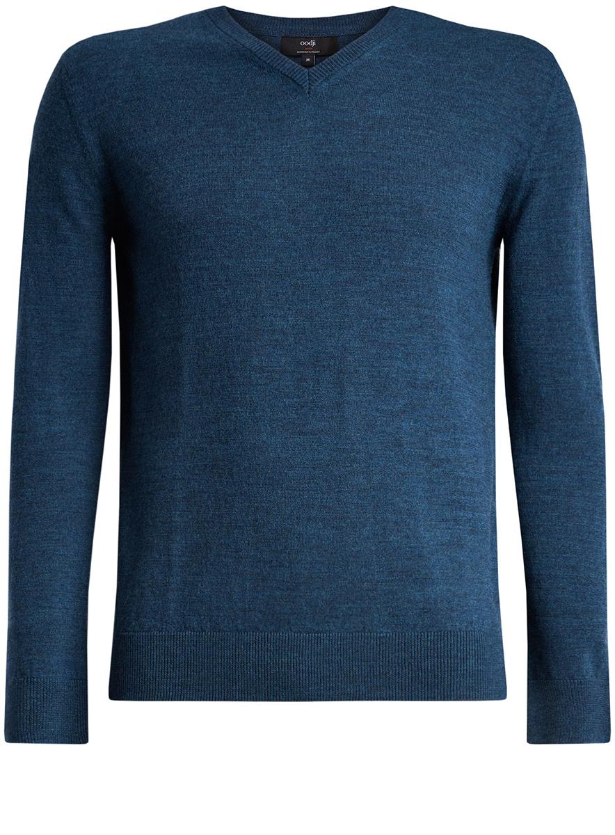 Пуловер мужской oodji Lab, цвет: синий меланж. 4L214005M/44359N/7600M. Размер XL (56)4L214005M/44359N/7600M