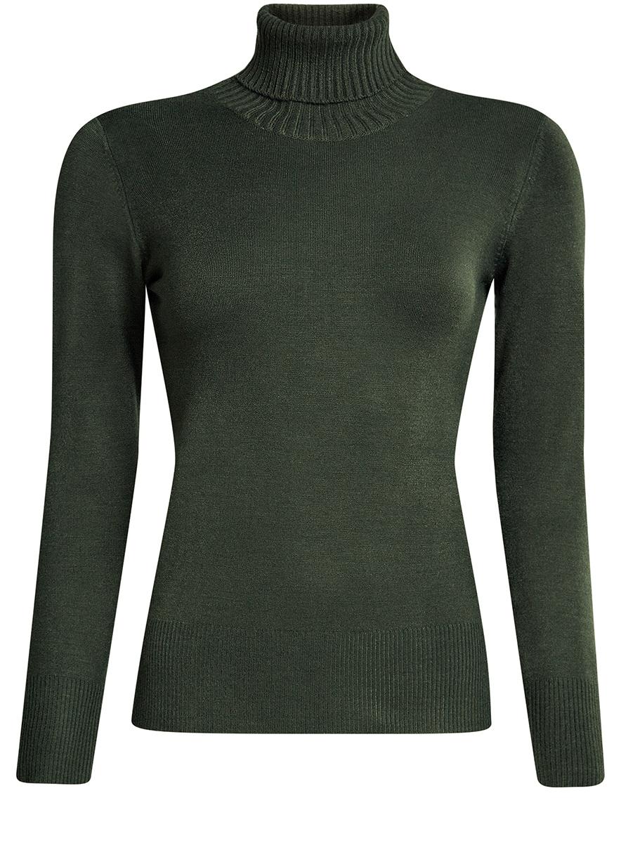 Свитер женский oodji Ultra, цвет: темно-зеленый. 64410012-2/33425/6900N. Размер XL (50)64410012-2/33425/6900NСвитер женский oodji Ultra выполнен из акрила, полиамида и эластана. Модель с воротником-гольфом имеет длинные рукава. Низ и рукава модели дополнены текстильными эластичными резинками.