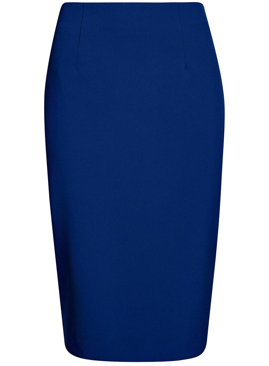 Юбка oodji Collection, цвет: синий. 21600282B/42314/7500N. Размер 44-170 (50-170)21600282B/42314/7500NСтильная юбка-карандаш выполнена из высококачественного материала. Сзади юбка застегивается на потайную застежку-молнию.