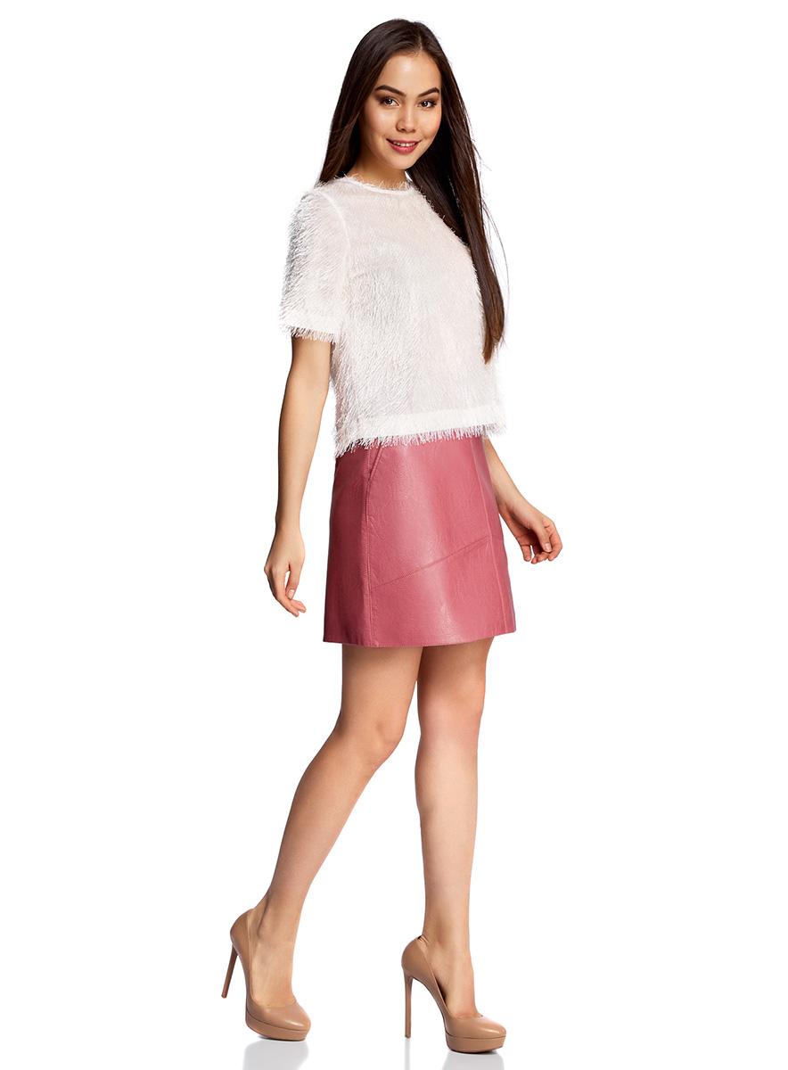 Юбка oodji Ultra, цвет: розовый. 18H00008/46534/4A00N. Размер 44-170 (50-170)18H00008/46534/4A00NМини-юбка трапециевидного кроя выполнена из искусственной кожи. Сзади модель дополнена застежкой-молнией.