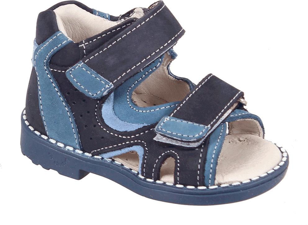 Сандалии для мальчика Tico, цвет: темно-синий, синий. iВ 024/169-73-31. Размер 24iВ 024/169-73-31Сандалии для мальчика от Tico выполнены из мягкой натуральной кожи. На ноге модель фиксируют ремешки с липучками. Носок открыт. Внутренняя поверхность и стелька изготовлены из натуральной кожи. Подошва из полимерного термопластичного материала оснащена рифлением.