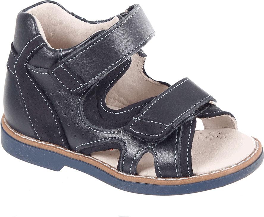 Сандалии для мальчика Tico, цвет: темно-синий. В 024/17-22. Размер 25В 024/17-22Сандалии для мальчика Tico изготовлены из натуральной кожи со вставками из нубука. На ноге модель фиксируют ремешки на липучках. Носок открыт. Внутренняя поверхность и стелька изготовлены из натуральной кожи. Подошва из термопластичного материала оснащена рифлением.