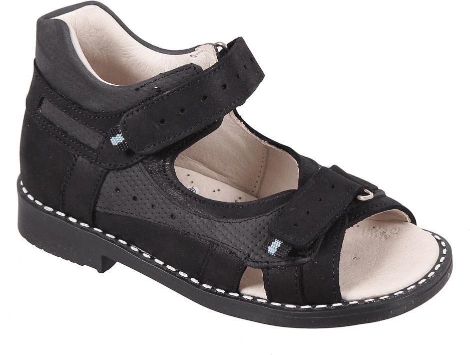 Сандалии для мальчика Tico, цвет: черный, темно-серый. Р 061/210-76. Размер 28Р 061/210-76Сандалии для мальчика Tico изготовлены из натурального нубука. На ноге модель фиксируют ремешки на липучках. Носок открыт. Внутренняя поверхность и стелька изготовлены из натуральной кожи. Подошва из термопластичного материала оснащена рифлением.