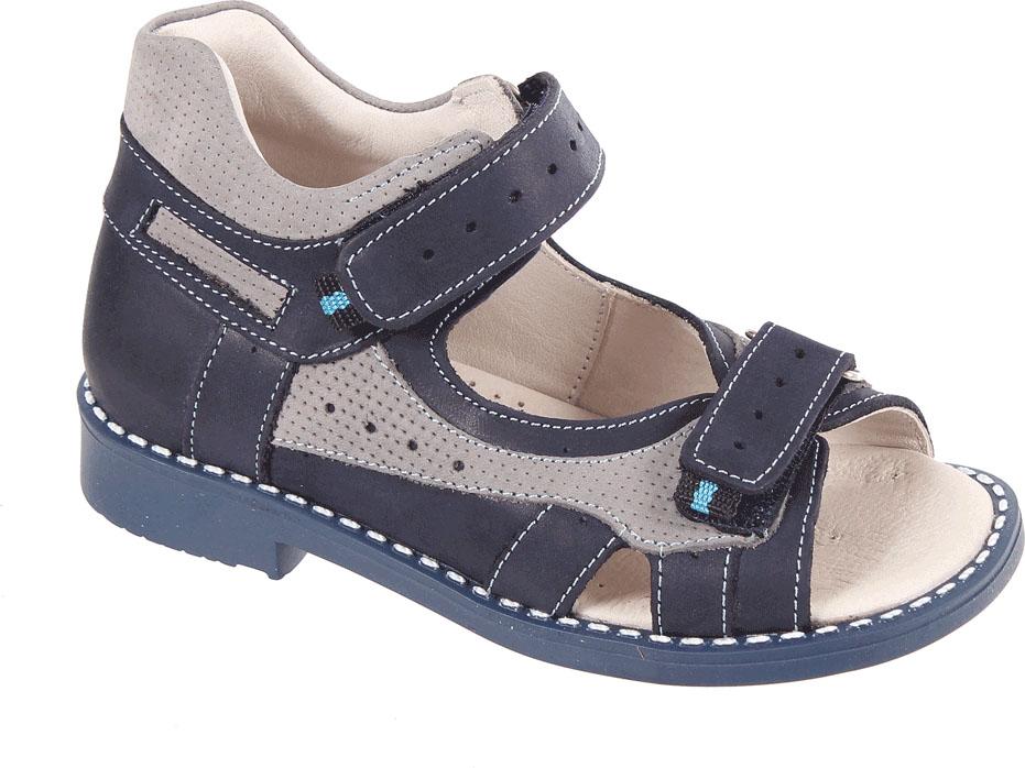 Сандалии для мальчика Tico, цвет: темно-синий, серый. Р 061/110-98. Размер 27Р 061/110-98Сандалии для мальчика Tico изготовлены из натурального нубука. На ноге модель фиксируют ремешки на липучках. Носок открыт. Внутренняя поверхность и стелька изготовлены из натуральной кожи. Подошва из термопластичного материала оснащена рифлением.