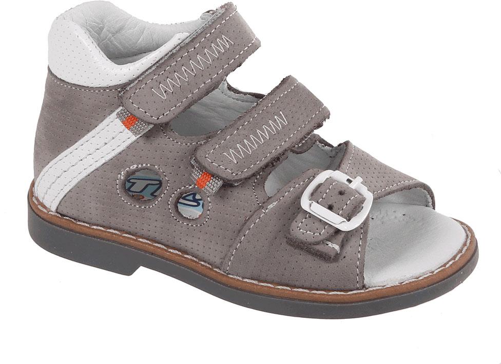 Сандалии для мальчика Tico, цвет: серый. В 079/98-151. Размер 21В 079/98-151Сандалии для мальчика Tico изготовлены из натурального нубука. На ноге модель фиксируют ремешки: один из них на пряжке, два других - на липучках. Носок открыт. Внутренняя поверхность и стелька изготовлены из натуральной кожи. Подошва из термопластичного материала оснащена рифлением.