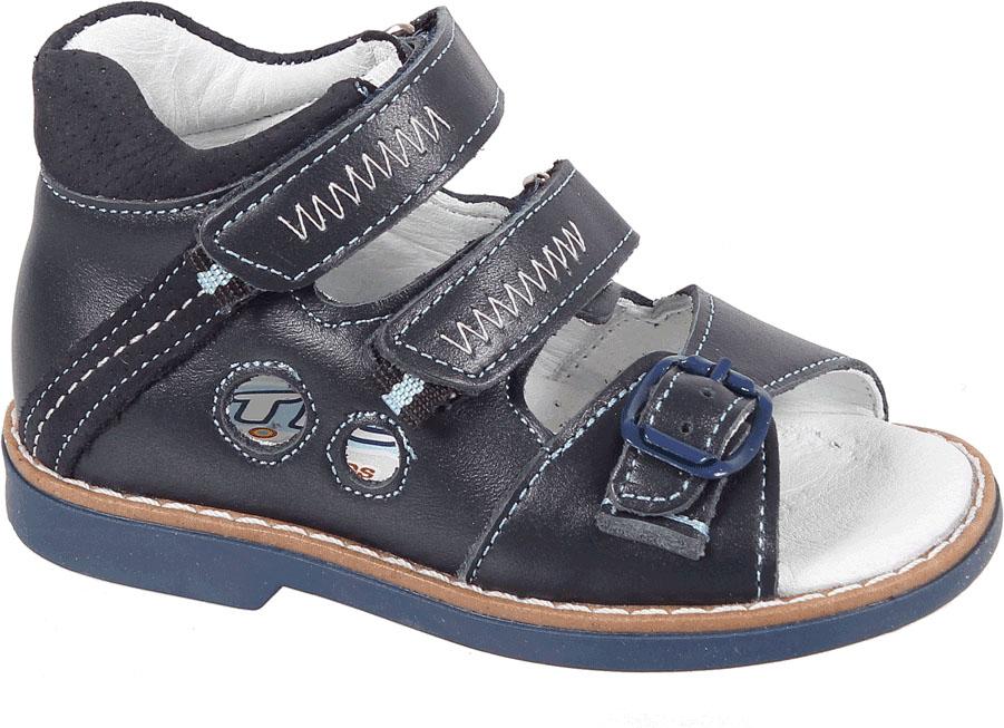 Сандалии для мальчика Tico, цвет: темно-синий. В 079/17-22. Размер 23В 079/17-22Сандалии для мальчика Tico изготовлены из комбинированной натуральной кожи. На ноге модель фиксируют ремешки: один из них на пряжке, два других - на липучке. Носок открыт. Внутренняя поверхность и стелька изготовлены из натуральной кожи. Подошва из термопластичного материала оснащена рифлением.