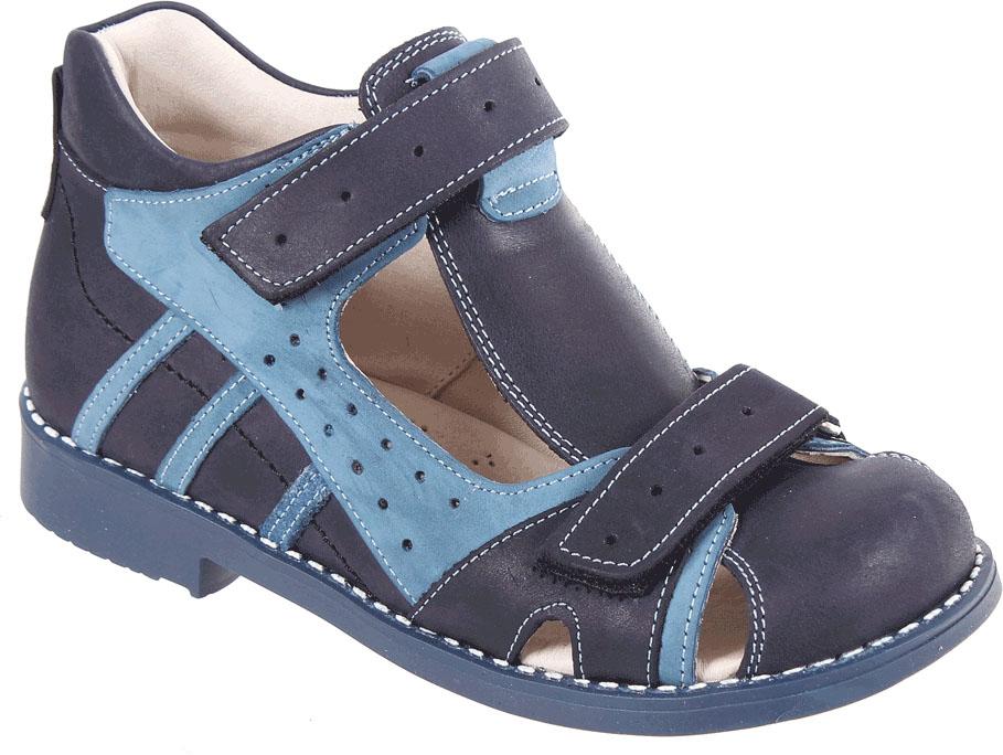 Сандалии для мальчика Tico, цвет: темно-синий, синий. F 908/110-31. Размер 31F 908/110-31Сандалии для мальчика от Tico выполнены из натуральной кожи разной фактуры. На ноге модель фиксируют ремешки на липучках. Внутренняя поверхность и стелька изготовлены из натуральной кожи. Подошва из полимерного термопластичного материала оснащена рифлением.