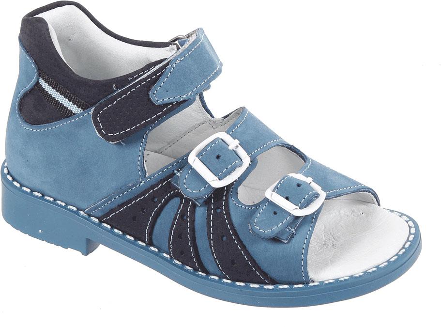 Сандалии для мальчика Tico, цвет: джинс. P 062/129-22. Размер 29P 062/129-22Сандалии для мальчика от Tico выполнены из мягкой натуральной кожи. На ноге модель фиксируют ремешки: один из них на липучке, два других - на пряжке. Носок открыт. Внутренняя поверхность и стелька изготовлены из натуральной кожи. Подошва из полимерного термопластичного материала оснащена рифлением.