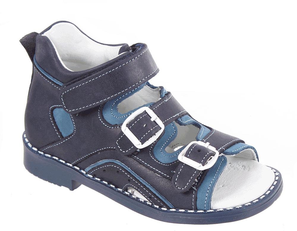 Сандалии для мальчика Tico, цвет: темно-синий, синий. Р 027/110-129. Размер 29Р 027/110-129Сандалии для мальчика Tico изготовлены из натуральной кожи. На ноге модель фиксируют ремешки: один из них на липучке, два других - на пряжке. Носок открыт. Внутренняя поверхность и стелька изготовлены из натуральной кожи. Подошва из термопластичного материала оснащена рифлением.