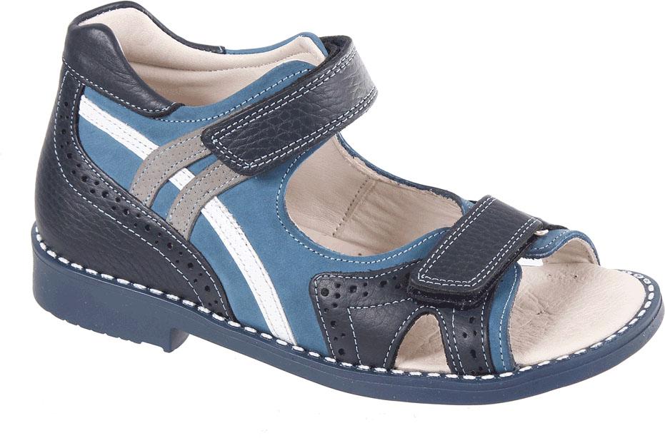 Сандалии для мальчика Tico, цвет: синий, темно-синий. F 909/175-129-98-151. Размер 32F 909/175-129-98-151Сандалии для мальчика от Tico выполнены из натуральной кожи разной фактуры. На ноге модель фиксирует ремешок с липучкой. Носок открыт. Внутренняя поверхность и стелька изготовлены из натуральной кожи. Подошва из полимерного термопластичного материала оснащена рифлением.