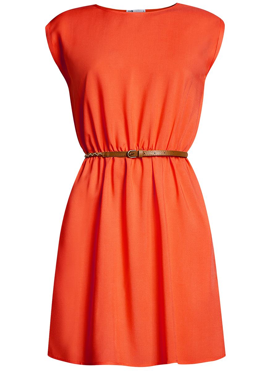 Платье oodji Ultra, цвет: оранжевый. 11910073B/26346/4501N. Размер 40-170 (46-170)11910073B/26346/4501NПлатье oodji Ultra, выгодно подчеркивающее достоинства фигуры, выполнено из легкой струящейся ткани. Модель мини-длины с круглым вырезом горловины и короткими рукавами дополнена двумя прорезными карманами на юбке.В комплект с платьемвходит узкий ремень из искусственной кожи с металлической пряжкой.