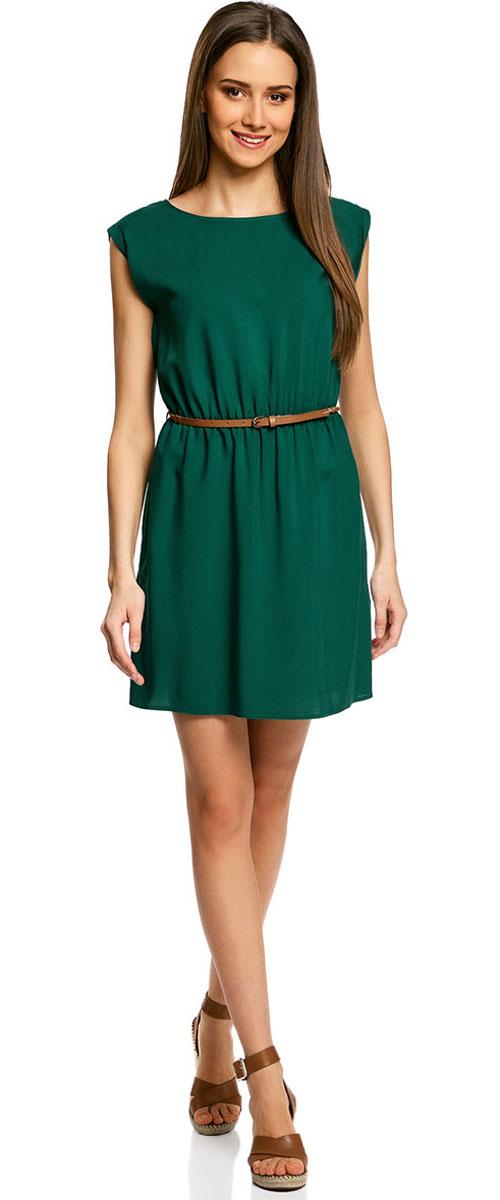 Платье oodji Ultra, цвет: темно-изумрудный. 11910073B/26346/6E00N. Размер 42-170 (48-170)11910073B/26346/6E00NПлатье oodji Ultra, выгодно подчеркивающее достоинства фигуры, выполнено из легкой струящейся ткани. Модель мини-длины с круглым вырезом горловины и короткими рукавами дополнена двумя прорезными карманами на юбке.В комплект с платьемвходит узкий ремень из искусственной кожи с металлической пряжкой.