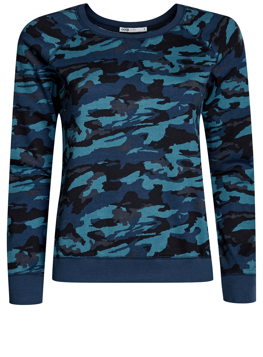 Свитшот женский oodji Ultra, цвет: синий, темно-синий. 14807021-1B/46919/7579O. Размер XXL (52)14807021-1B/46919/7579OСвитшот с круглым вырезом горловины и длинными рукавами-реглан выполнен из натурального хлопка. Модель оформлена принтом в военном стиле.