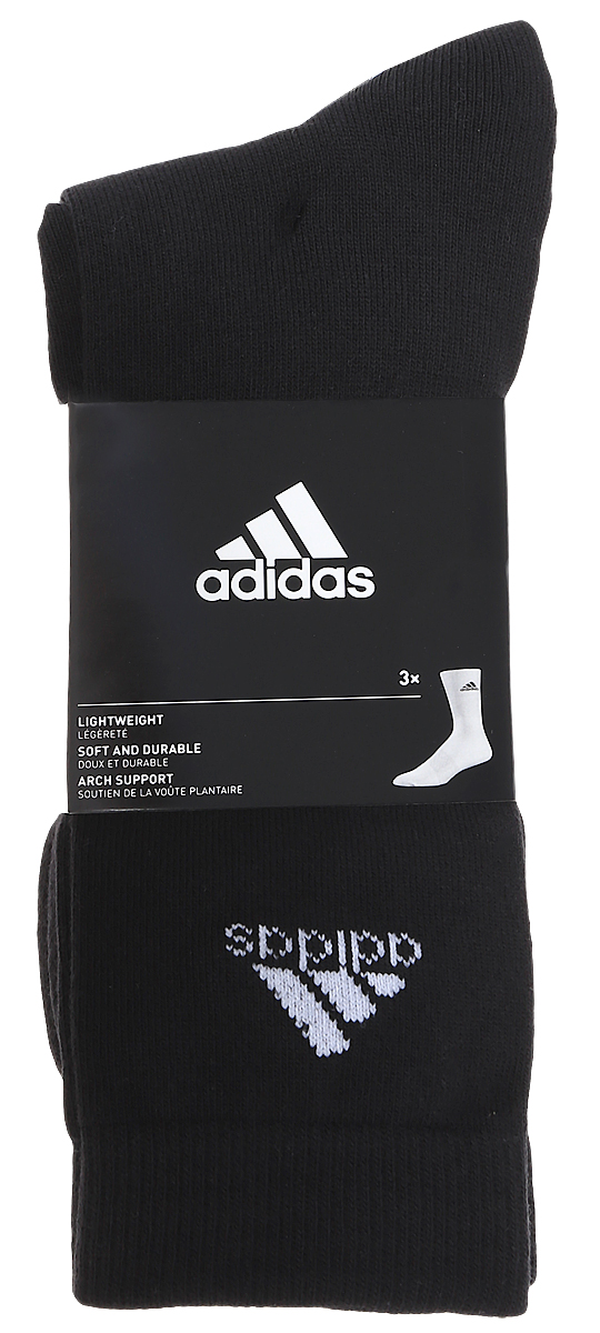 Носки adidas Per Crew T, цвет: черный, 3 пары. AA2330. Размер 43/46AA2330Носки adidas Per Crew T изготовлены из высококачественного мягкого эластичного хлопка с добавлением полиэстера и полиамида. Удлиненные носки с поддержкой стопы имеют эластичную резинку, которая надежно фиксирует носки на ноге. В комплект входят 3 пары носков, оформленных логотипом бренда adidas.