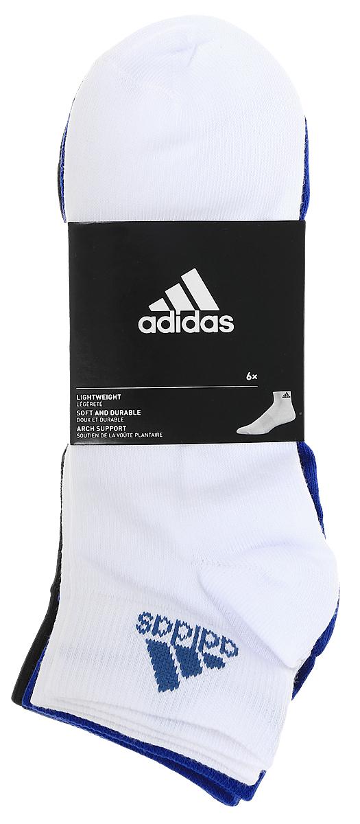 Носки adidas Per Ankle T, цвет: мультиколор, 6 пар. S99890. Размер 39/42S99890Носки adidas Per Ankle T изготовлены из высококачественного эластичного хлопка с добавлением полиамида и полиэстера. Укороченные носки с поддержкой стопы имеют эластичную резинку, которая надежно фиксирует носки на ноге. В комплект входят 6 пар носков разных цветов: синего, белого, темно-голубого, темно-синего, серого и темно-фиолетового.