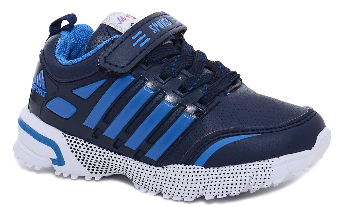 Кроссовки для мальчика М+Д, цвет: темно-синий, голубой. 7429_2. Размер 317429_2Стильные кроссовки для мальчика М+Д выполнены из качественной искусственной кожи. Модель оформлена яркими декоративными вставками. Обувь фиксируется на ноге при помощи удобной шнуровки и липучки. Высокая подошва из полимера дополнена рифлением.