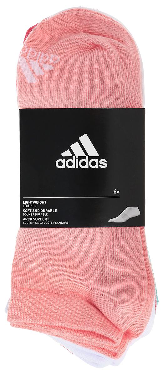 Носки женские adidas Per No-Sh T, цвет: мультиколор, 6 пар. S99897. Размер 31/34S99897Женские носки adidas Per No-Sh T изготовлены из высококачественного эластичного хлопка с добавлением полиамида и полиэстера. Укороченные носки с поддержкой стопы имеют эластичную резинку, которая надежно фиксирует носки на ноге. В комплект входят 6 пар носков разных цветов: розового, белого, светло-розового, темно-синего, серого и мятного.