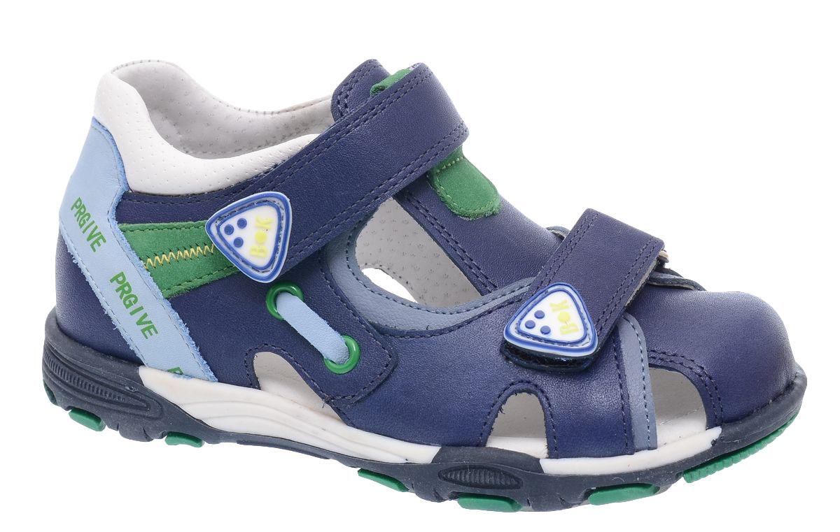 Сандалии для мальчика BiKi, цвет: темно-синий. A-B81-10-B. Размер 24A-B81-10-BСандалии BiKi для мальчика, выполненные из комбинированной кожи, оформлены оригинальными нашивками и контрастной прострочкой. На ноге модель фиксируется с помощью ремешков с застежкой-липучкой. Внутренняя поверхность и стелька выполнены из натуральной кожи. Подошва изготовлена из прочного и гибкого полимерного материала. Поверхность подошвы дополнена рельефным рисунком.