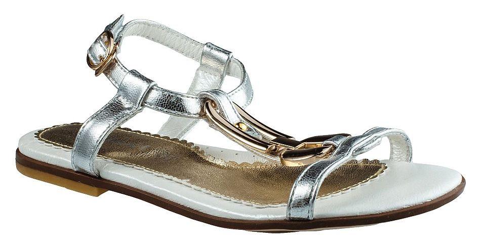 Босоножки для девочки BiKi, цвет: серебристый. A-B81-15-A. Размер 36A-B81-15-AБосоножки BiKi для девочки выполнены из комбинированной кожи. Модель оформлена металлическим декоративным элементом. Ремешок с застежкой-липучкой надежно зафиксирует модель на ноге. Внутренняя поверхность и стелька выполнены из натуральной мягкой кожи. Стелька дополнена небольшим супинатором с перфорацией, который обеспечит правильное положение стопы и предотвратит плоскостопие. Подошва выполнена из легкого и прочного полимерного материала, а ее рифление гарантирует отличное сцепление с любой поверхностью.