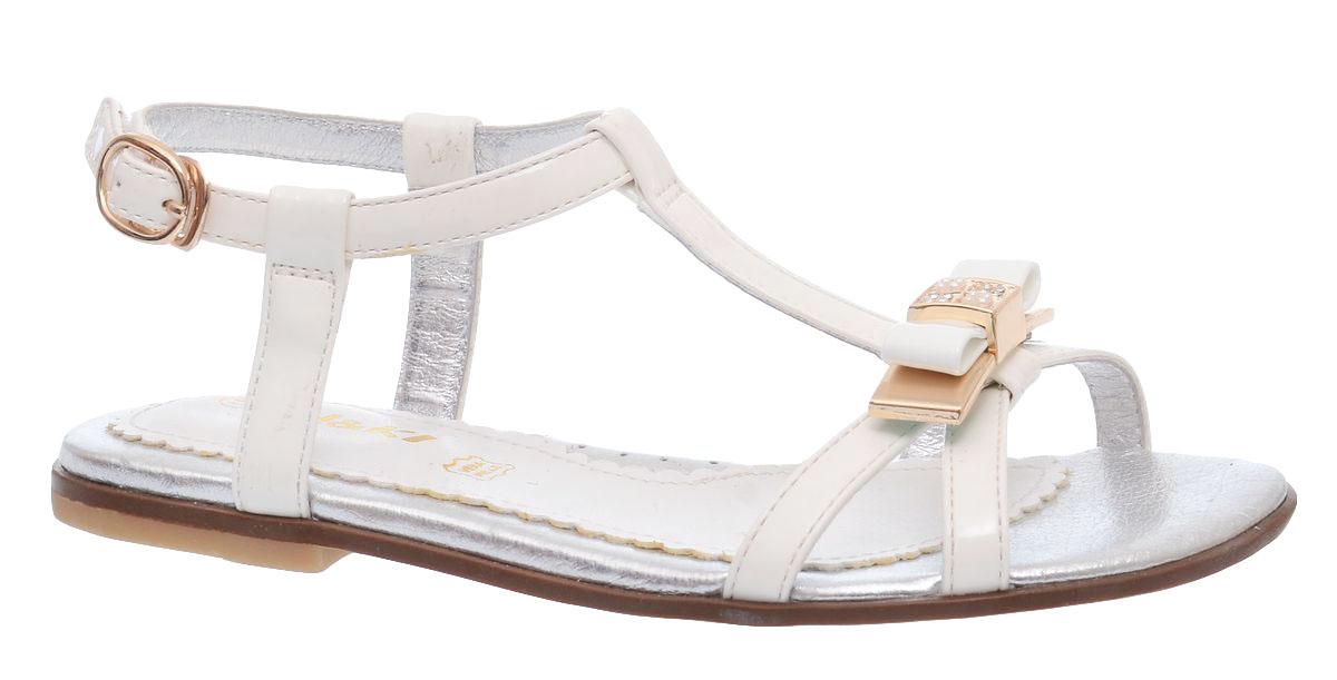 Босоножки для девочки BiKi, цвет: белый. A-B81-18-E. Размер 34A-B81-18-EБосоножки BiKi для девочки выполнены из комбинированной кожи. Модель оформлена милым бантиком. Ремешок с застежкой-липучкой надежно зафиксирует модель на ноге. Внутренняя поверхность и стелька выполнены из натуральной мягкой кожи. Стелька дополнена небольшим супинатором с перфорацией, который обеспечит правильное положение стопы и предотвратит плоскостопие. Подошва выполнена из легкого и прочного полимерного материала, а ее рифление гарантирует отличное сцепление с любой поверхностью.